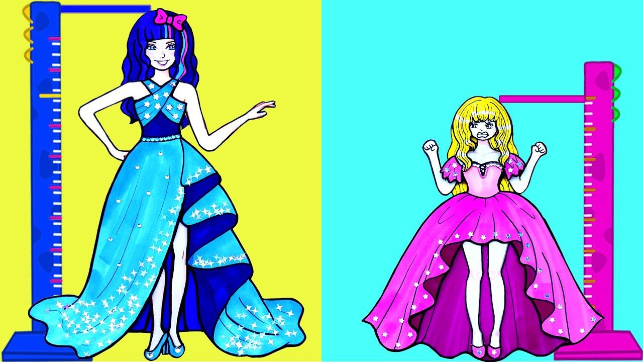Tips Dan Trik Boneka Kertas - Pesta Gaun Tinggi Dan Pendek Buatan Tangan - Barbie Story & Crafts