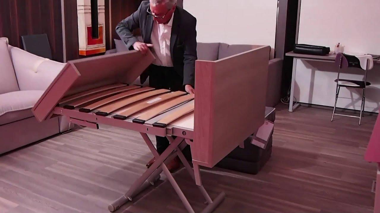 table lit escamotable triple fonction youtube. Black Bedroom Furniture Sets. Home Design Ideas