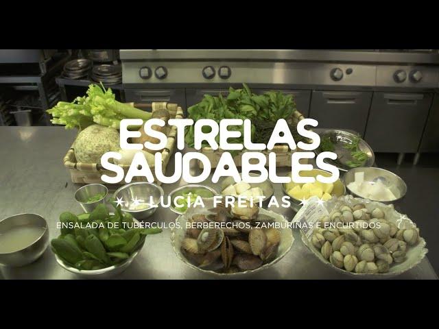 Videoreceita con Lucía Freitas: ensalada de tubérculos, berberechos, zamburiñas e encurtidos