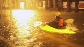 People kayaking in Cork streets