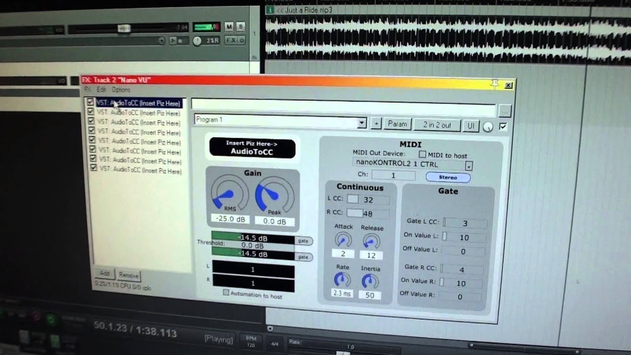 How to use the Korg NanoKontrol2 as an audio level meter with a DAW