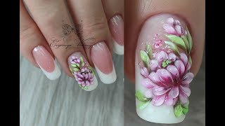 Красивые ногтиСтеклянные цветы