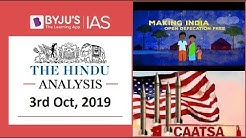 'The Hindu' Analysis for 3rd October, 2019 (Current Affairs for UPSC/IAS)