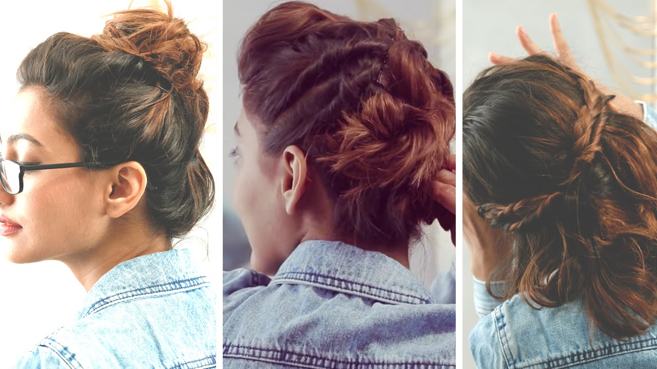 3 quick and easy hairstyles for short hair | no heat required