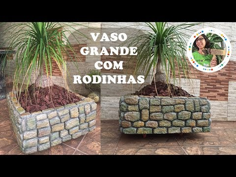 DIY - VASO GRANDE, DE CIMENTO E ISOPOR, COM RODINHAS