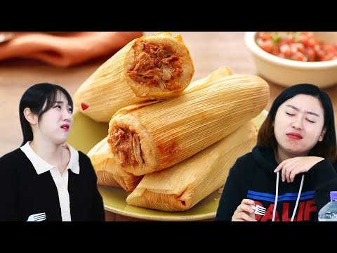 Koreans in their 30s Tries TAMALES (Mexican food) for the first time