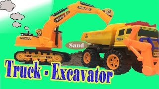 Car Toys For Kids - Excavator Toys Sand and dump truck play set -  Construction Vehicles
