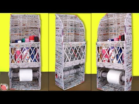 Easy... DIY Room Organizer    News Paper Craft    Space saving Idea