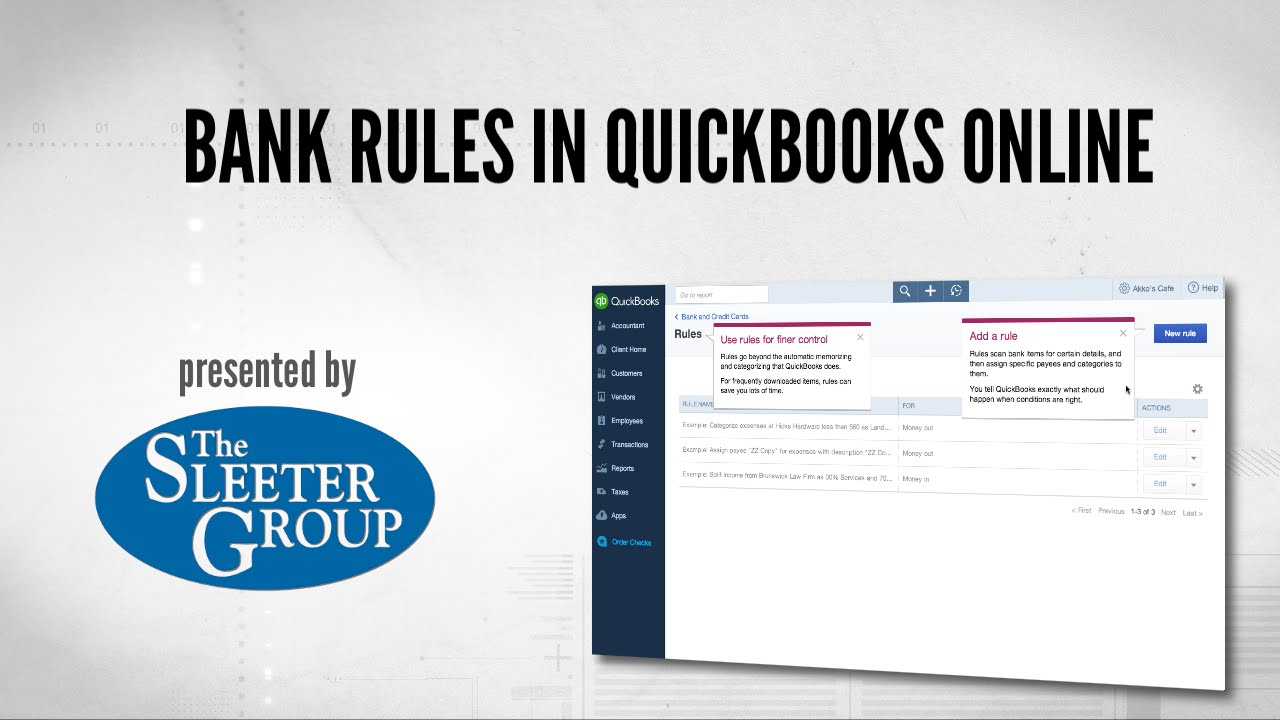 QuickBooks Online Introduces Bank Rules - Accountex Report