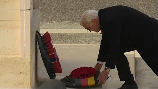 German president lays wreath at British cenotaph on Armistice Day