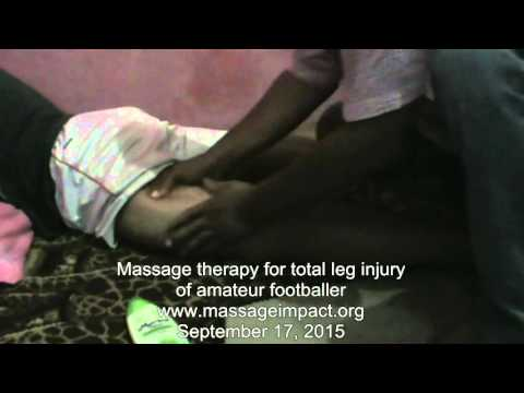 Massage therapy for total leg injury of an amateur footballer