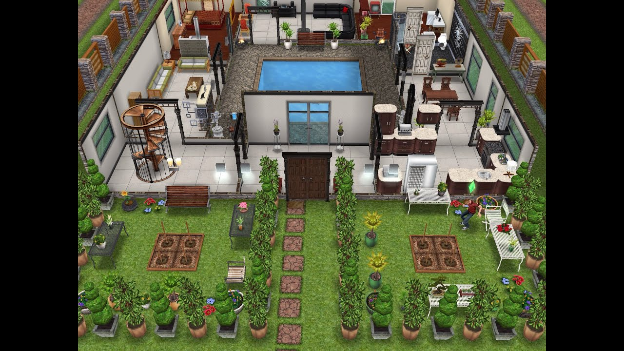Original House With Interior Courtyard Sims Freeplay Youtube