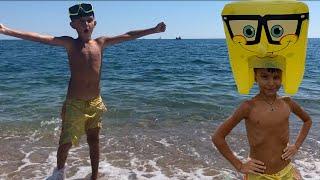 SpongeBob на пляже! Супер Встреча Стефан и Губка Боб Квадратные Штаны