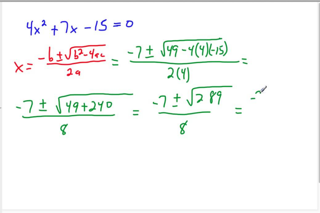 8th grade 9-6 The Quadratic Formula and the Discriminant ...