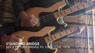 Standard bridge vs Hi-Mass bridge comparison on Squier