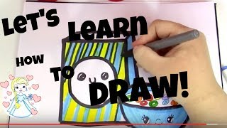 How To Draw A Cute Cartoon Box and Bowl of Cereal! ART LESSON FOR CHILDREN