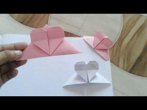 DIY Origami Heart Bookmark Corner - easy paper bookmark | Crafty Soniya