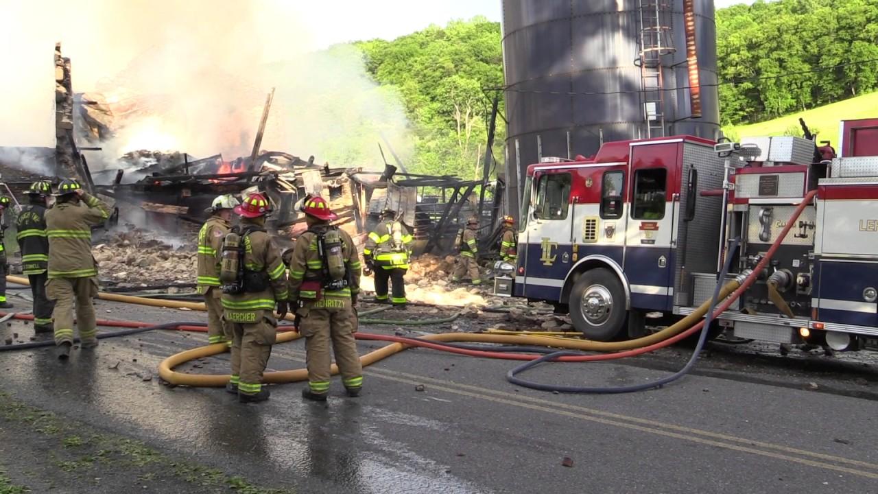 Lehigh Township Fully Involved Barn Fire - 5.27.17 - YouTube