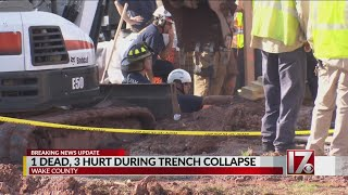 1 dead, 3 hurt during trench collapse