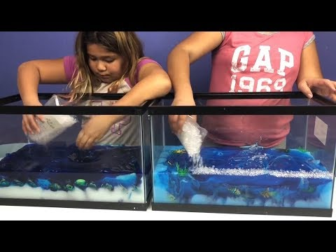FISH BOWL SLIME VS FISH BOWL SLIME - MAKING GIANT SLIMES