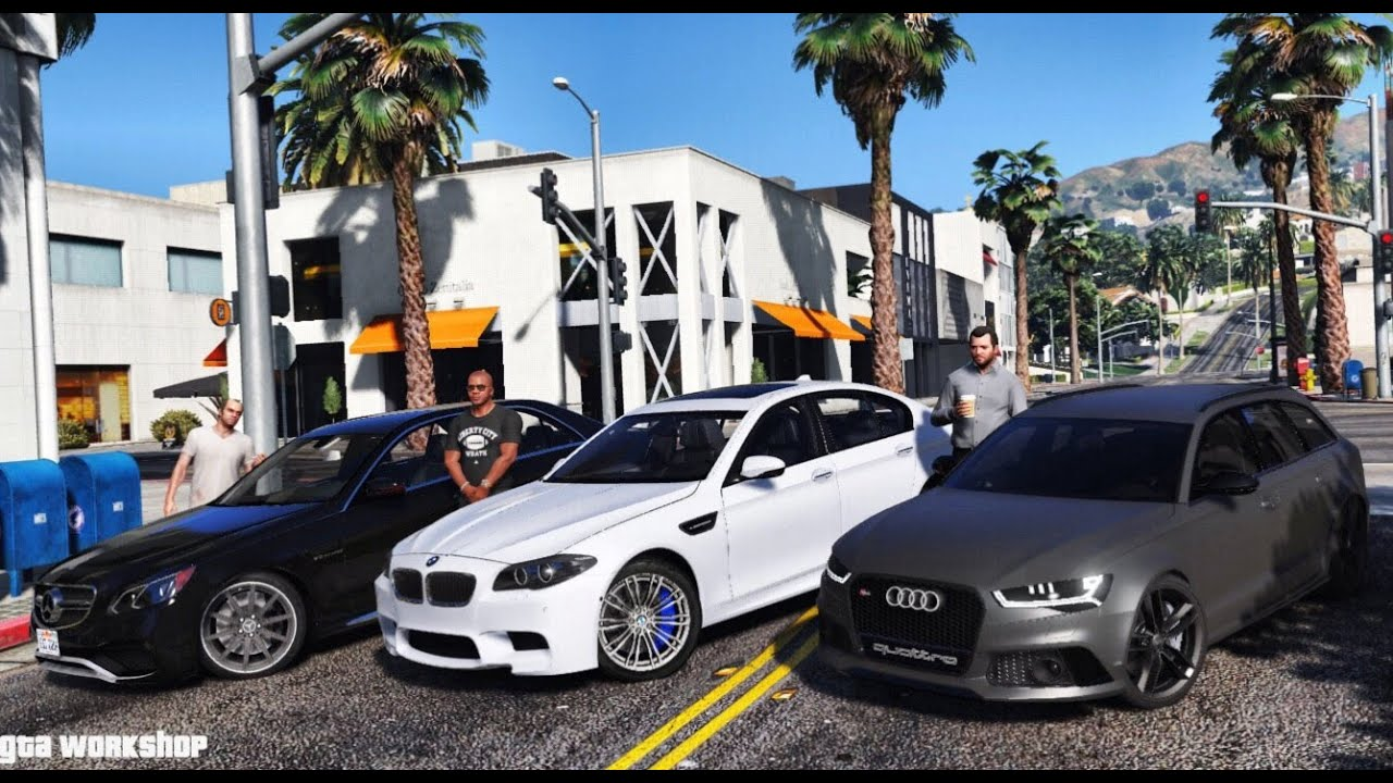 gta 5 mod luxury cars bmw m5 f10 vs e63 amg vs audi rs6 c7 2016 enb pc 60 fps youtube. Black Bedroom Furniture Sets. Home Design Ideas