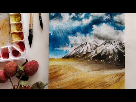 Easy watercolour landscape painting tutorial for beginners