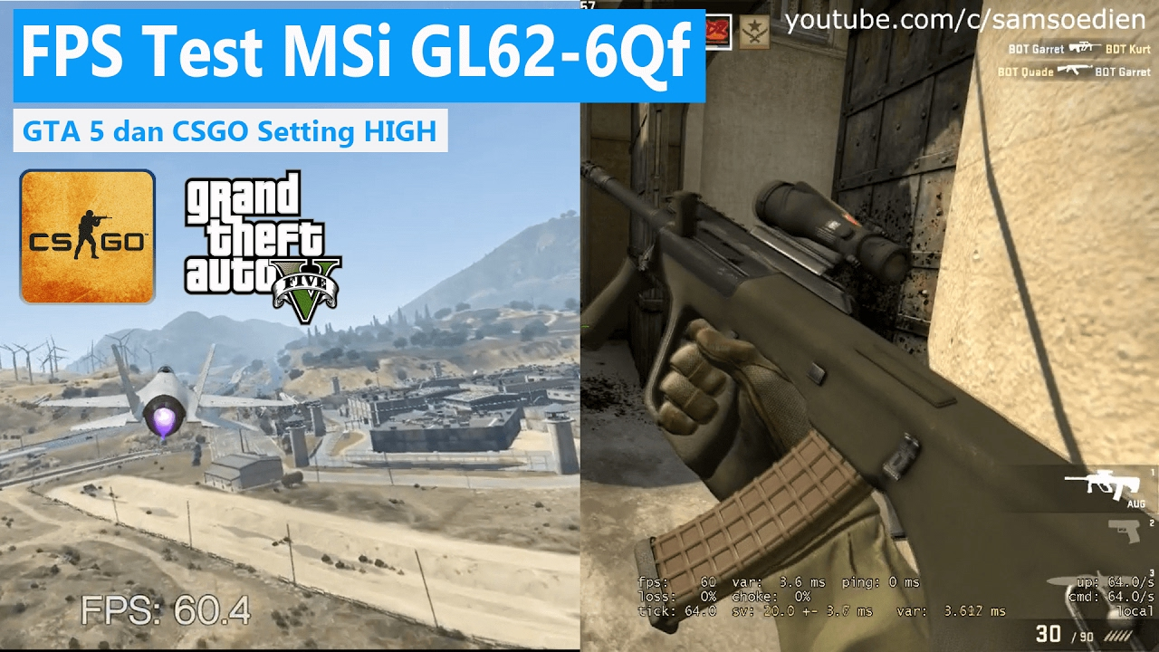 FPS Test MSi GL62 6QF NVidia 4Gb - GTA V & CSGO