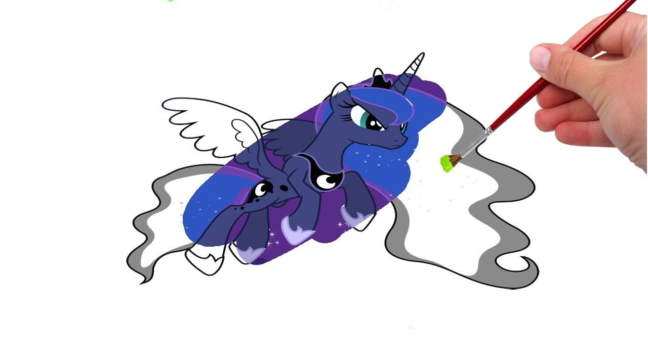 Kleurplaten My Little Pony Baby.My Little Pony Mlp Princess Luna For Kids Coloring Pages Youtube