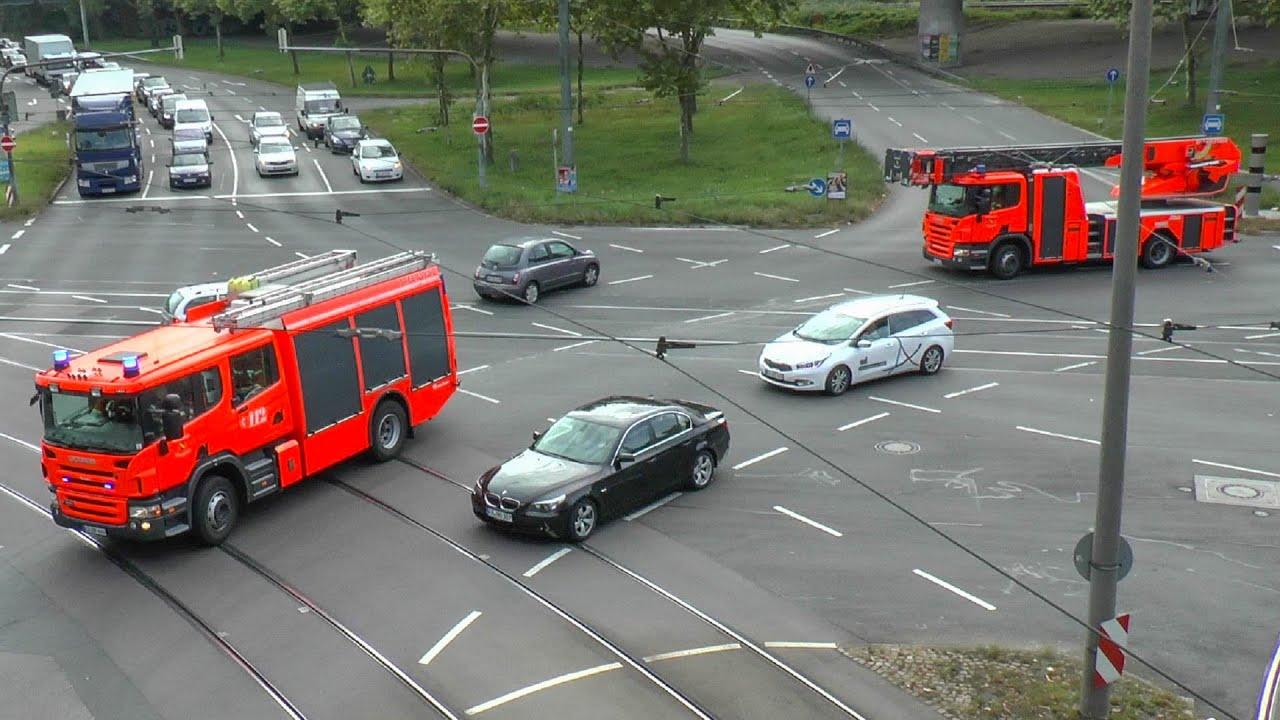 [BMW ÜBERSIEHT DLK] Einsatzfahrt Feuerwehr Karlsruhe - HLF &  DLK Feuerwache West | Pressluftkonzert