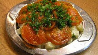 Кольраби тушёная в сметане с помидорами - видео рецепт
