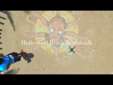 Hollywood Beach Boardwalk Drone Footage