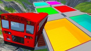 Stair Jumps Down In Colored Swimming Pools #2 - BeamNG drive