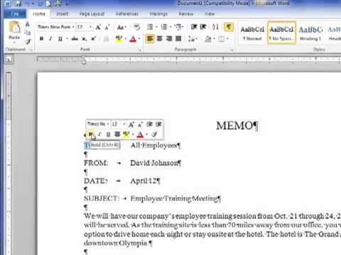 Creating a Business Memo - YouTube