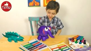 видео Разноцветные слоники из пластилина