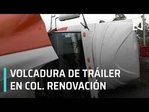 Tráiler sufre volcadura en Iztapalapa - Expreso de la Mañana