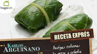 Receta Exprés: Acelgas rellenas de arroz y cebolla