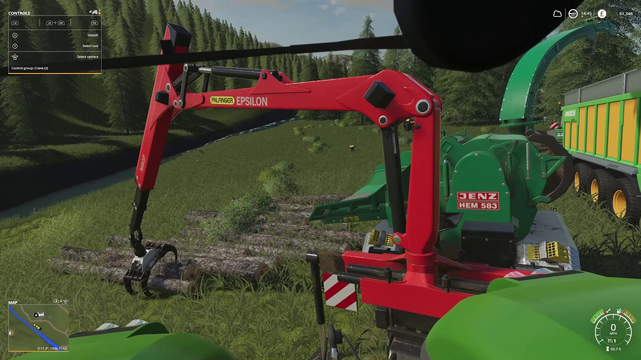 Farming Simulator 19 Forestry chipping logs - Fendt 1050 - Jenz Hem 583