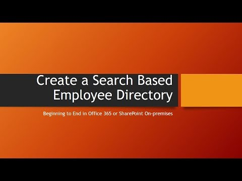 Create a Search Based Employee Directory in SharePoint and SharePoint Online