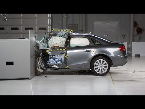 2012 Audi A4 driver-side small overlap IIHS crash test