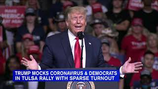 Trump mocks coronavirus and Democrats in rally with sparse turnout