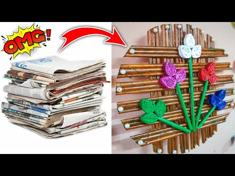 DIY newspaper wall hanging|how to make wall hanging|Newspaper Craft Idea| by SuchetaCreations