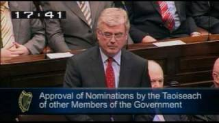 Tanaiste Eamon Gilmore making his first speech for the Dáil