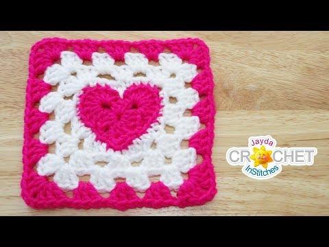 Heart at the Centre Granny Square Crochet Tutorial