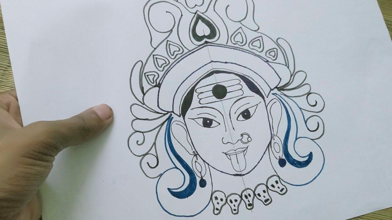 How To Draw Maa Kali Mahakali Goddess Kali Diwali Drawing महकल अदभत चतरकल
