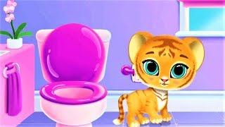 Fun Pet Kitty Care Games - Play With Pocket Baby Tiger:  Wash Feeding Dress Up - Funny Pet Kids Game