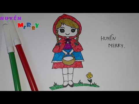 Cách vẽ CÔ BÉ QUÀNG KHĂN ĐỎ đơn giản || How To Draw a Girl || HUYỀN MERRY