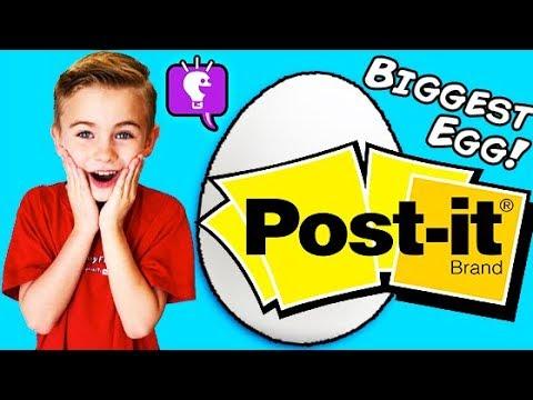 World's Biggest POST-IT Surprise Egg! Giant Arts N Crafts Family Fun HobbyKidsTV