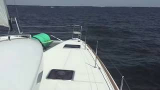 Lagoon 450S Sailing & Tacking In a Light Breeze