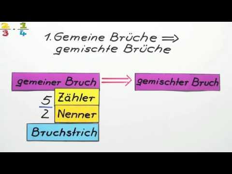 Übung: Gemeine Brüche In Gemischte Brüche Umformen   Mathematik    Arithmetik / Rechnen