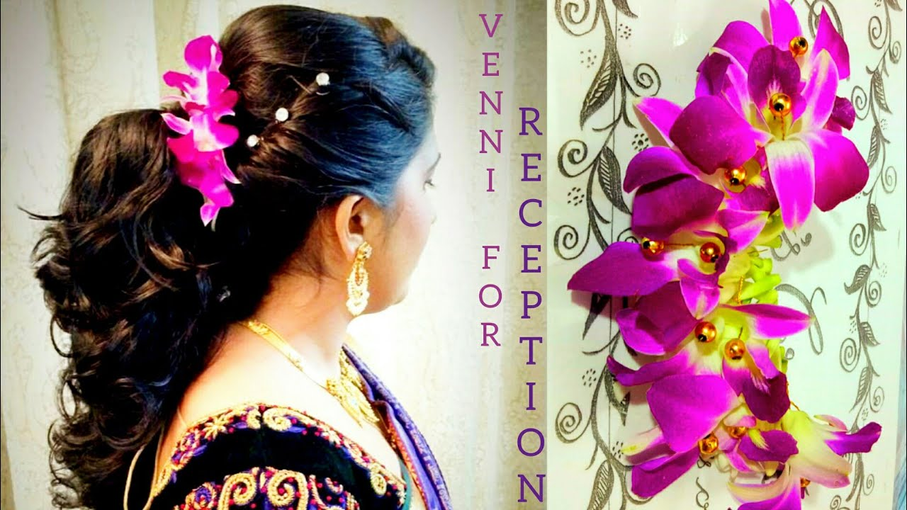 bridal venni for wedding reception hairstyles with orchid flowers